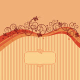 Orange waves, swirls and butterflies card Royalty Free Stock Photography