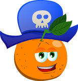 Orange wearing pirate hat Royalty Free Stock Image
