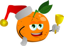 Orange wearing Santa's hat and playing bell Stock Images