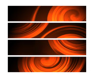 Orange Web banners with twirl effect. A set of 4 web banners for websites, blogs and advertisements Stock Images