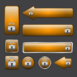 Orange web buttons Stock Images