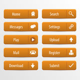 Orange web design buttons set. Vector illustration Stock Photos