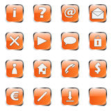 Orange web icon collection 1. (16 buttons:exclamation, question, at, mail, delete, arrow, cloud, lock, man, home, telephone, dollar, euro, pen, download and royalty free illustration