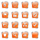 Orange web icon set 3. Icon collection 3 (16 orange glossy buttons: document, smiley, sad face, neutral face, flag, unlocked, locked, prohibited, folder, link royalty free illustration
