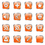 Orange web icon set 4 (16 bla. Web icon set 4 (16 orange buttons: cog, plus, cursor, star, sound on, sound off, note, printer, rss, cloud, user, wizard, pen stock illustration