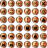 Orange web icons. Vector illustration Royalty Free Stock Images