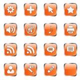 Orange Web-Ikone stellte 4 ein (bla 16 Stockbild