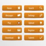 Orange Webdesignknöpfe eingestellt Auch im corel abgehobenen Betrag Stockfotos