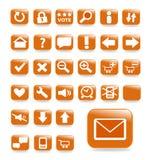 Orange website button set Royalty Free Stock Photo