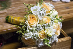 Orange wedding bouquet. E of rose and fresia Royalty Free Stock Images