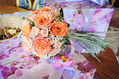 Orange Wedding bouquet Stock Photography