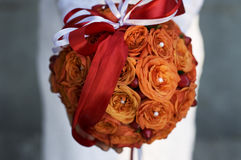 Orange wedding bunch of flowers Royalty Free Stock Photo