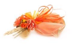 Orange Wedding Favor. Handmade wedding favor isolated on white background stock image