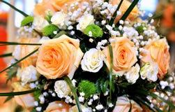 Orange Wedding roses. Several wedding roses in orange royalty free stock photography