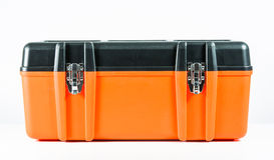 Orange Werkzeugkasten lokalisiert Stockfotografie