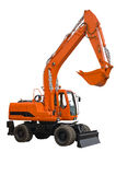 Orange wheel excavator with bucket beam. Orange wheel excavator isolated over white. With clipping path. Close up Royalty Free Stock Photos