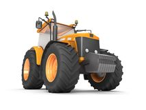 Wheel agricultural tracktor isolated on white background. Front. Orange wheel harvesting tracktor isolated on white background. Front side view. Perspective Royalty Free Stock Photography