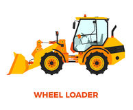 Orange Wheel Loader Construction Vehicle on a white background Royalty Free Stock Photography