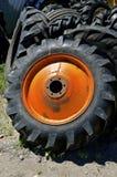 Orange wheel and tires Royalty Free Stock Photos