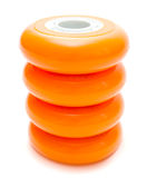 Orange wheels isolated over white clipping path Royalty Free Stock Image