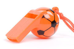 Orange whistle. Isolated picture of an orange whistle Stock Photo