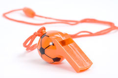 Orange whistle. Isolated picture of an orange whistle Royalty Free Stock Images