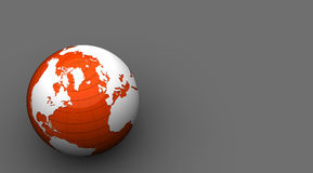 Orange and white 3d globe Royalty Free Stock Photo