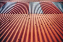 Orange and White Aluminum Roof Background Texture Royalty Free Stock Image