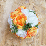 Orange and white artificial roses ball Stock Photography