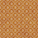 Orange and White Aum Hindu Symbol Tile Pattern Repeat Background Stock Photography