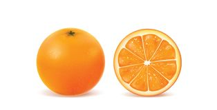 Orange on white background. Illustration of fresh orange on white background stock image