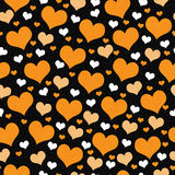 Orange, White and Black Hearts Tile Pattern Repeat Background Royalty Free Stock Image