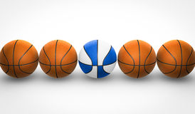 Orange and white and blue basketballs Stock Image