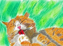 Orange White Cat with Closed Eyes. This is a hand drawn crayon drawing. The background is drawn with soft pastels. The drawing shows a cat who has closed eyes Stock Images