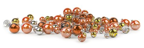 Orange and white christmas baubles 3D rendering. Orange and white christmas baubles isolated on white background 3D rendering Royalty Free Illustration