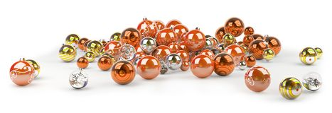 Orange and white christmas baubles 3D rendering. Orange and white christmas baubles isolated on white background 3D rendering Stock Illustration