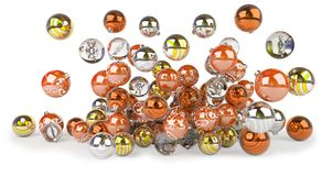 Orange and white christmas baubles 3D rendering. Orange and white christmas baubles isolated on white background 3D rendering Vector Illustration