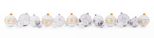 Orange and white christmas baubles lined up 3D rendering. Orange and white christmas baubles lined up on snow background 3D rendering Royalty Free Stock Image