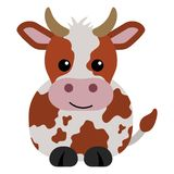 Orange and White Cow. Cartoon orange and white cow with horns Stock Photos
