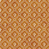 Orange and White Cross Symbol Tile Pattern Repeat Background Stock Photos