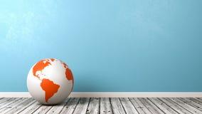Earth Globe on Wooden Floor royalty free illustration