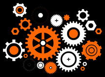 Orange -white gears Royalty Free Stock Images