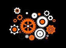 Orange -white gears Stock Photo