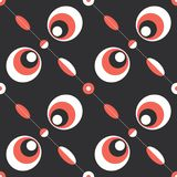 Retro geometric abstract background. Orange and white geometric shapes composition on dark brown background Royalty Free Stock Photo