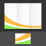 Orange white and green trifold template. Illustration design over a grey background vector illustration