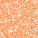 Orange and white lineart flowers seamless pattern Royalty Free Stock Images
