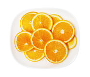 Orange on a white plate Royalty Free Stock Photography