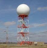 Orange and White Radar Communications Tower Stock Images
