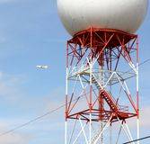 Orange and White Radar Communications Tower Stock Image