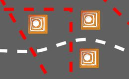 Orange white safety road cones or traffic cones on a road for traffic redirection or warning of hazards or dangers. Orange white safety road cones or traffic Royalty Free Stock Photo